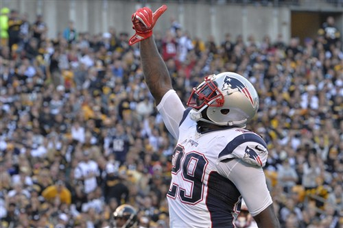 LeGarrette Blount celebrates after scoring a touchdown against the Steelers in the second quarter Sunday at Heinz Field.