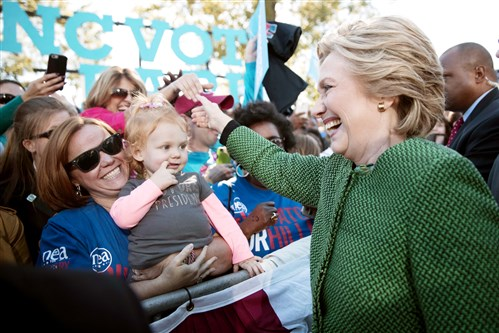 Democratic presidential candidate Hillary Clinton greets supporters during a campaign event Sunday in Raleigh, N.C.