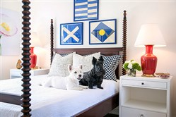 Mini and Winslow, who are not for sale, rest on a four-poster spool bed topped by framed signal flags. The nightstands are by  Bungalow 5.