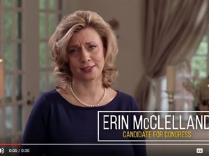 A screen capture from a new ad for Erin McClelland's campaign for the 12th Congressional District.