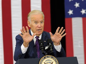 Vice President Joe Biden campaigns for Hillary Clinton at Chatham University on Tuesday.