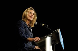 Katie McGinty, Pennsylvania's Democratic candidate for Senate, speaks at a campaign event at the University of Pittsburgh's Alumni Hall in Oakland on Wednesday.