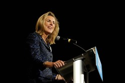Katie McGinty, Pennsylvania's Democratic candidate for Senate, speaks at a campaign event at the University of Pittsburgh's Alumni Center in Oakland on Wednesday.