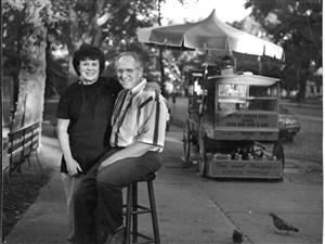 Stella and Gus Kalaris at their ice ball cart on the North Side, circa 2000.