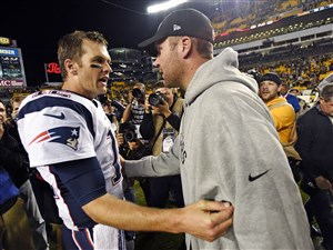 "Steelers quarterback Ben Roethlisberger and Patriots quarterback Tom Brady speak after Sunday's game. A clip from Showtime's ""Inside the NFL"" captured a conversation between the quarterbacks before the game that shows Roethlisberger asking for Brady's jersey."