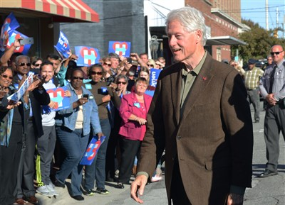 Bill Clinton campaigning for his wife in Aliquippa this morning