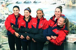 The Women's Youth Four team from the Three Rivers Rowing Association won the event at the Head of the Charles Regatta Oct. 23 in Boston. From left: Tessa Kimmy, Abbi Altman, Sophie Winbush, Anna Farman and Annika Christensen.