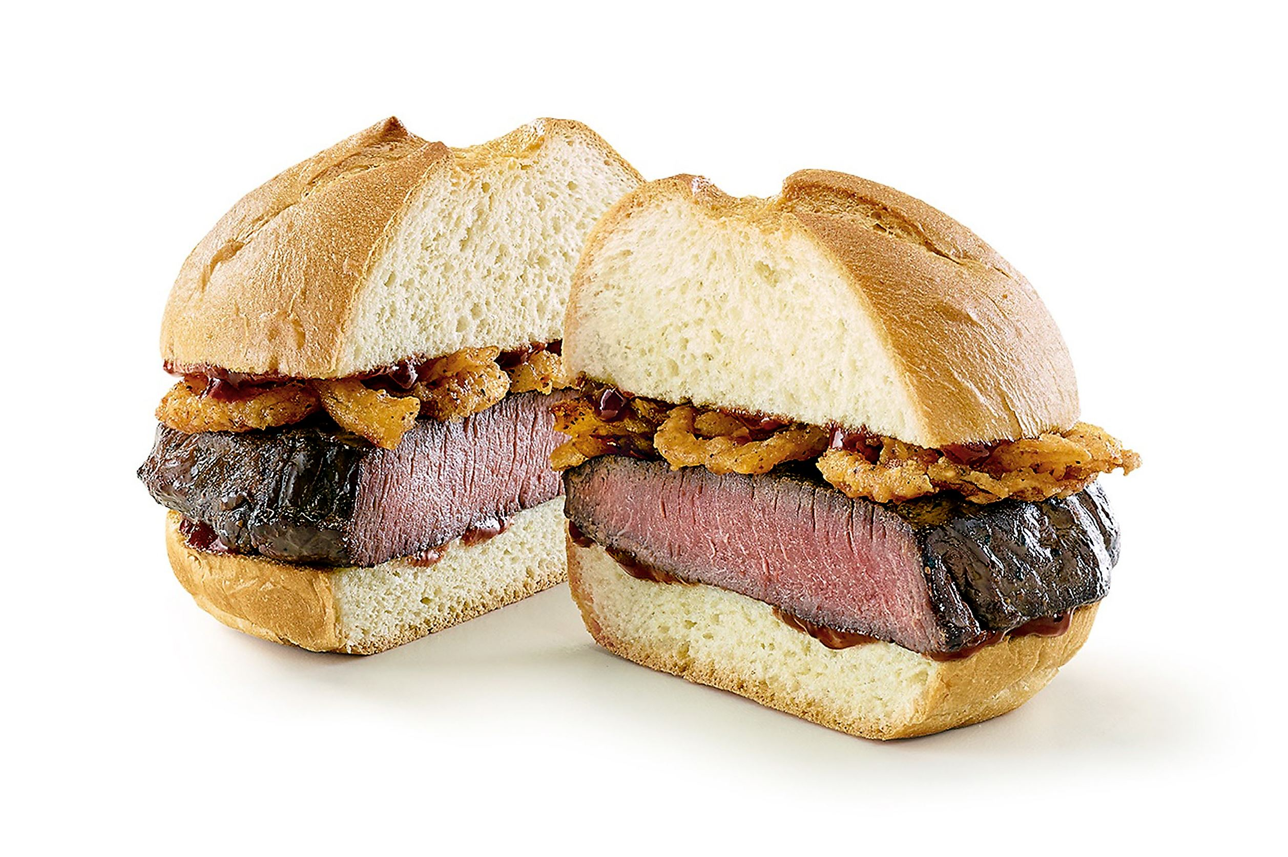 venison_arby_sandwich Arby's venison sandwich features a thick-cut. slow-roasted venison steak and crispy onions topped with juniper berry sauce.