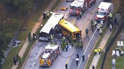 Emergency personnel work at the scene of the fatal Baltimore school bus crash on Nov. 1.