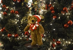 A bear is displayed just as it was at Macy's .   Santaland is now located at the One Oxford Center for the season.