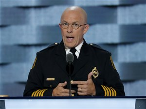 Pittsburgh police Chief Cameron McLay speaks during the second day of the Democratic National Convention in Philadelphia on July 26, 2016.