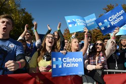 Supporters cheer for Democratic presidential candidate Hillary Clinton during a rally Monday at the University of Pittsburgh.