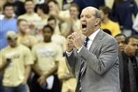 Pitt coach Kevin Stallings calls out to his team against Eastern Michigan Nov. 11 at Petersen Events Center.