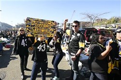 Steelers fans strike a pose for the Mannequin Challenge before Sunday's game against the Cowboys at Heinz Field.