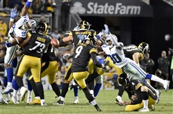 Steelers Chris Boswell attempts a field goal against the Cowboys on Nov. 13 at Heinz Field.
