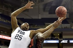 Pitt's Rozelle Nix reaches for a rebound against Gardner-Webb in a non-conference game last season.