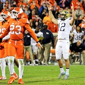 Pitt kicker Chris Blewitt celebrates after kicking the game-winning field goal at Clemson.