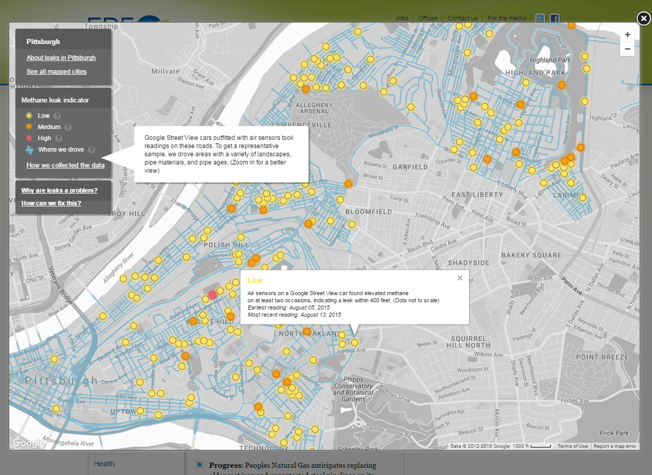 Gas leak map An interactive map of several Pittsburgh neighborhood shows some 200 indications of gas leaks as mapped from a Google Street View car equipped with methane-sniffing sensors.