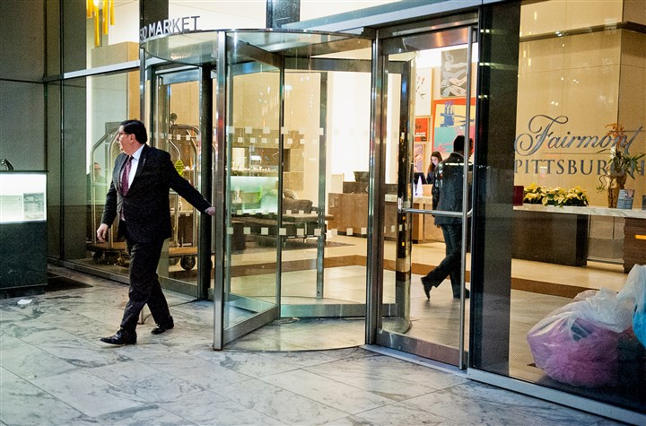 BULLDOG - 20161115hmnPedutoCampaign Pittsburgh Mayor Bill Peduto leaves the Fairmont Hotel after a campaign fundraiser at Habitat Restaurant Downtown on Nov. 15, 2016.