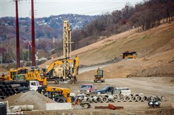 Workers prepare the site of a multibillion dollar petrochemical complex that Shell is building in Potter and Center townships, Beaver County.