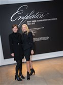Dennita Sewell, the Phoenix Art Museum's Jacquie Dorrance curator of fashion design, with Karin Legato at the Emphatics exhibition opening.