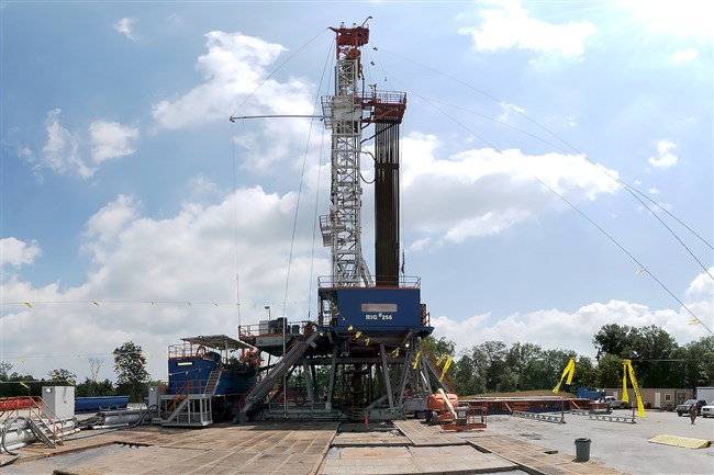A natural gas drilling rig at work in the Marcellus Shale formation of Pennsylvania