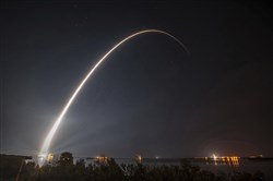 This photo provided by United Launch Alliance shows a United Launch Alliance Atlas V rocket carrying GOES-R spacecraft for NASA and NOAA lifting off from Space Launch Complex-41 at 6:42 p.m. EST at Cape Canaveral Air Force Station, Fla., on Saturday.