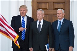 President-elect Donald Trump with retired Marine Gen. James Mattis and Vice President-elect Mike Pence.
