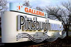 Signage for the Galleria at Pittsburgh Mills in Frazer.