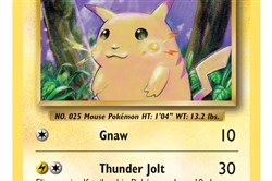 A trading card of popular Pokemon Pikachu.