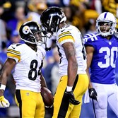 Antonio Brown celebrates with Ladarius Green after scoring late in the fourth quarter Thursday in Indianapolis.