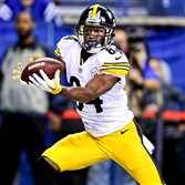Steelers receiver Antonio Brown makes one of his three touchdown catches against the Colts at Lucas Oil Stadium Indianapolis.