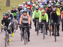 The lead group of  bikers take off for the 34th annual Dirty Dozen race at the Bud Harris Cycling Track in Highland Park on Saturday.