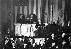 President Franklin D. Roosevelt appears before a joint session of Congress appealing for a declaration of war against Japan in Washington D.C. in this Dec. 8, 1941 file photo.