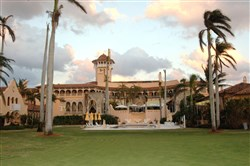 Donald Trump's Mar-a-Lago main building in Palm Beach as viewed from South Ocean Boulevard near Southern  Boulevard in Palm Beach.