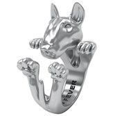 Dog Feve's sterling silver hug ring. The bull terrier is $261.78 at Orr's Jewelers.