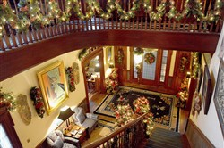 A view from the second-floor landing of some of the Christmas decorations in the 1870s North Side home that will be on the Old Allegheny Victorian Christmas House Tour on Dec. 9-10.