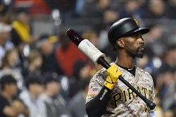 Andrew McCutchen waits on deck during a Sept. 29 game against the Cubs,