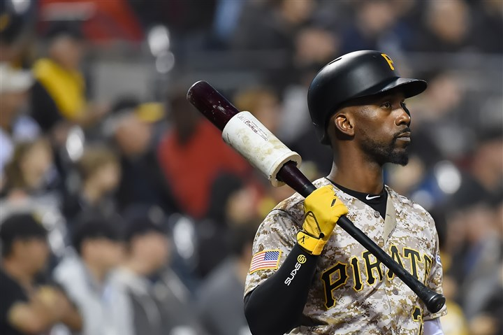 20160929pdPiratesSports03-40 Andrew McCutchen waits on deck during a Sept. 29 game against the Cubs,