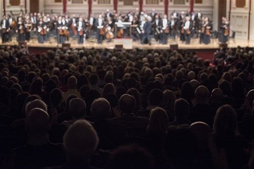 The sold-out music hall applauds for the Pittsburgh Symphony Orchestra at The Music Has Returned!—the Pittsburgh Symphony Orchestra's first concert at Heinz Hall in two and a half months.