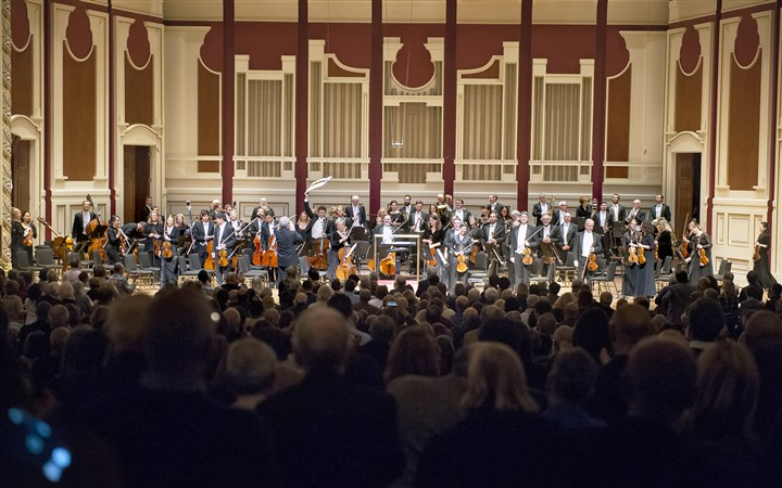 "Pittsburgh Symphony Orchestra standing ovation The audience gives a standing ovation to the Pittsburgh Symphony Orchestra before ""The Music Has Returned!"" —Pittsburgh Symphony Orchestra's first concert at Heinz Hall in two and a half months."