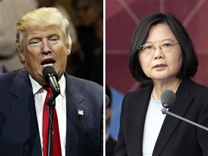 U.S. President-elect Donald Trump, left, and Taiwan's President Tsai Ing-wen, right.