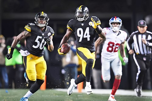 Lawrence Timmons intercepts an Eli Manning pass.