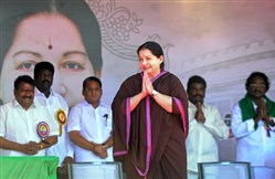 Jayalalitha Jayaram, the chief minister of India's Tamil Nadu state and one of the country's most popular political leaders, arrives at a meeting in 2014.