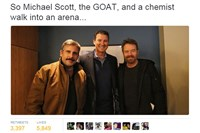 "Steve Carell and Bryan Cranston, in Pittsburgh filming ""Last Flag Flying,"" join Penguins great Mario Lemieux for the Pens' 8-5 victory over the Senators on Dec. 5."