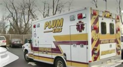 A Plum EMS ambulance responds to the Penn Hills Charter School of Entrepreneurship after two second-graders fall ill.