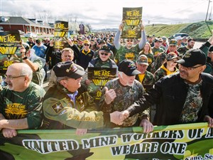 Thousands of mine workers and supporters march in Waynesburg for a rally by the United Mine Workers of America on April 1.
