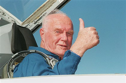 John Glenn became the oldest person to fly in space on his second flight, aboard space shuttle Discovery.