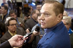 Sports agent Scott Boras responds to a question from the media during Major League Baseball's Winter Meetings in Oxon Hill, Md., Dec. 7, 2016.