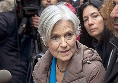 Former Green Party presidential candidate Jill Stein during a news conference in New York City on Monday.
